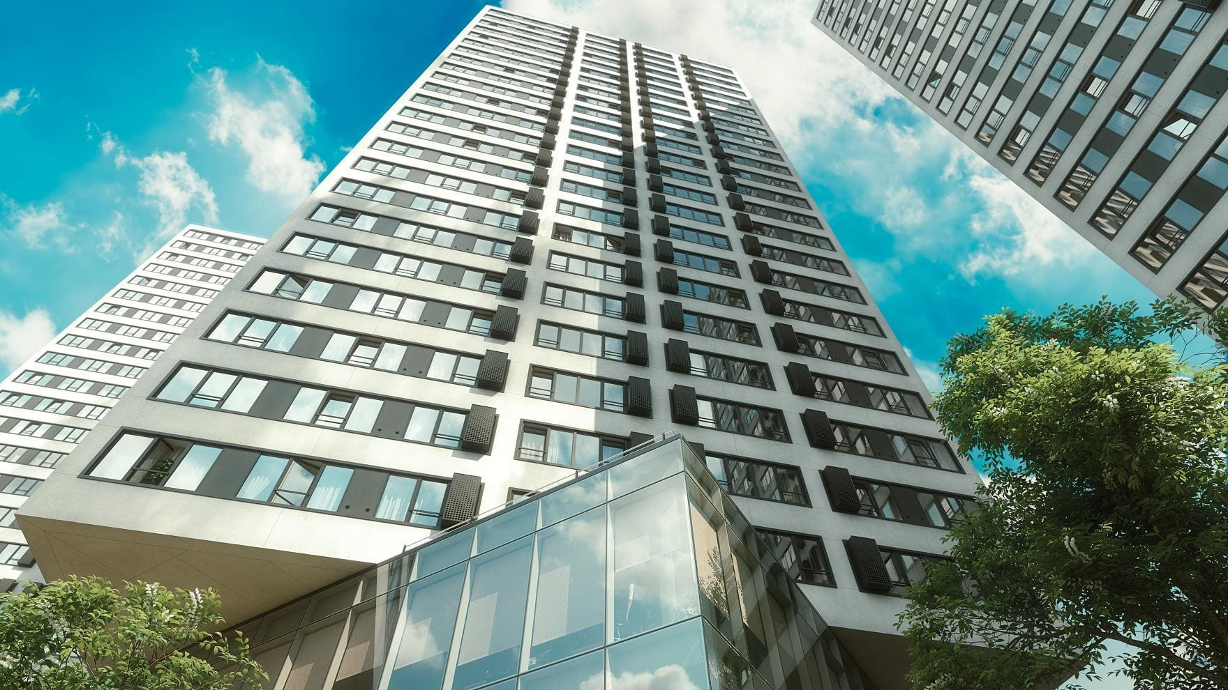 Fusion budynek wizualizacja wieżowiec