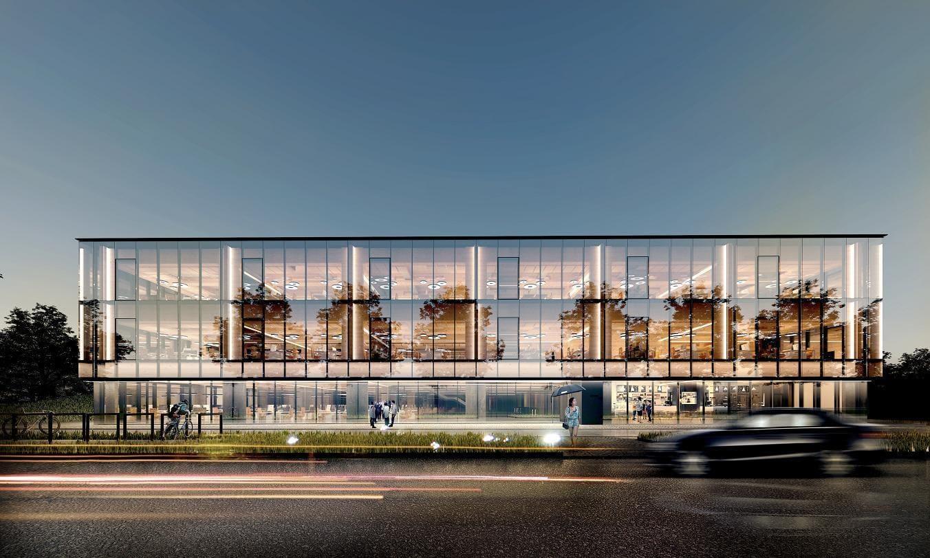 Szklany budynek wizualizacja